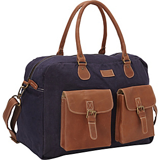 Large Navy Canvas/Leather Duffle